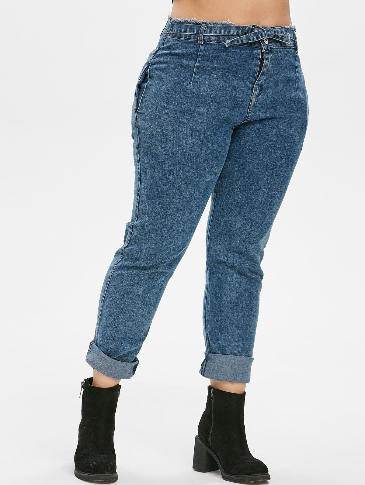 Best High Waisted Knotted Frayed Skinny Plus Size Jeans
