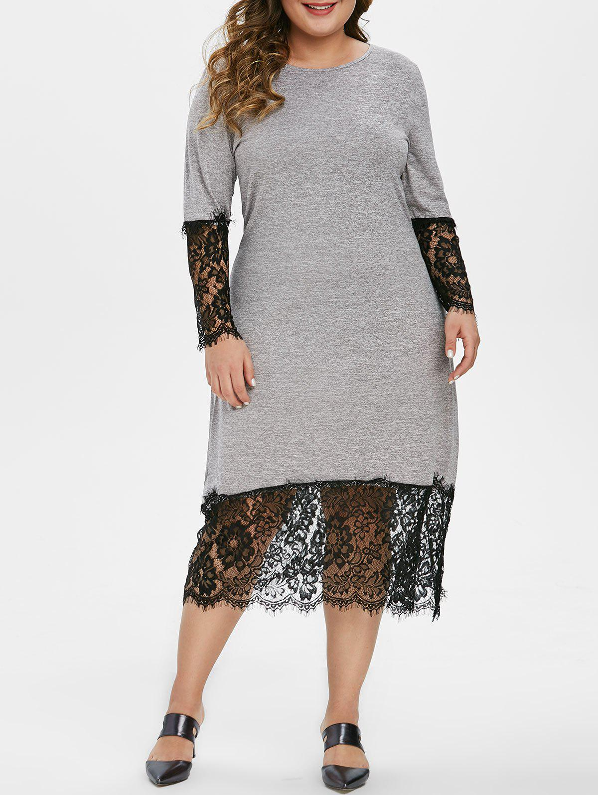 Trendy Long Sleeve Lace Panel Marl Casual Plus Size Dress
