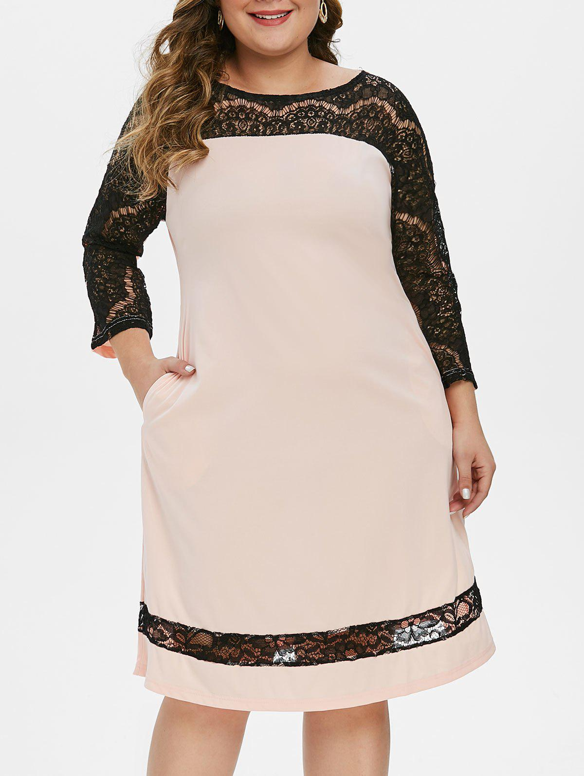 Affordable Raglan Sleeve Lace Panel A Line Plus Size Dress