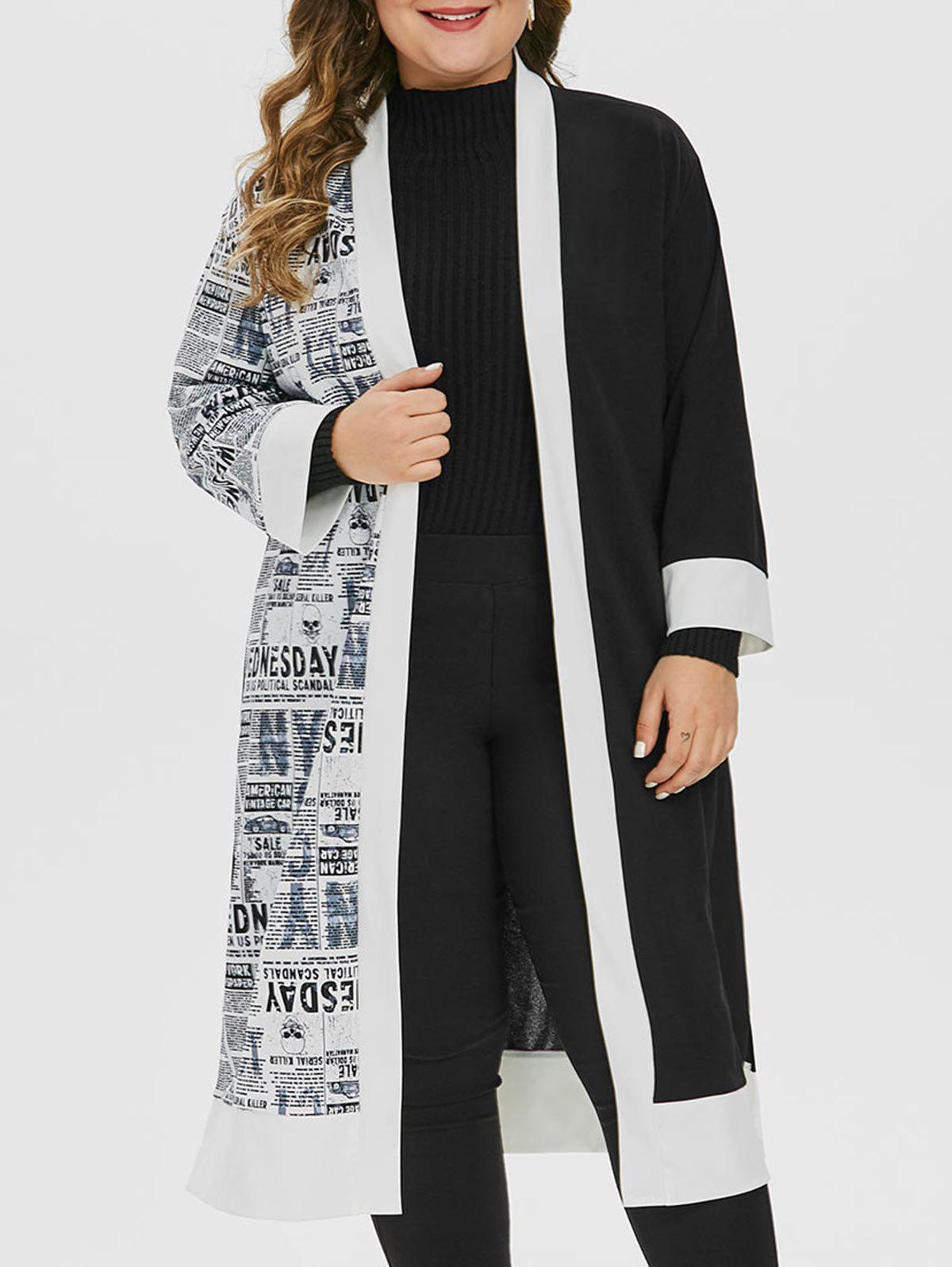 Trendy Plus Size Newspaper Print Open Collarless Longline Slit Coat