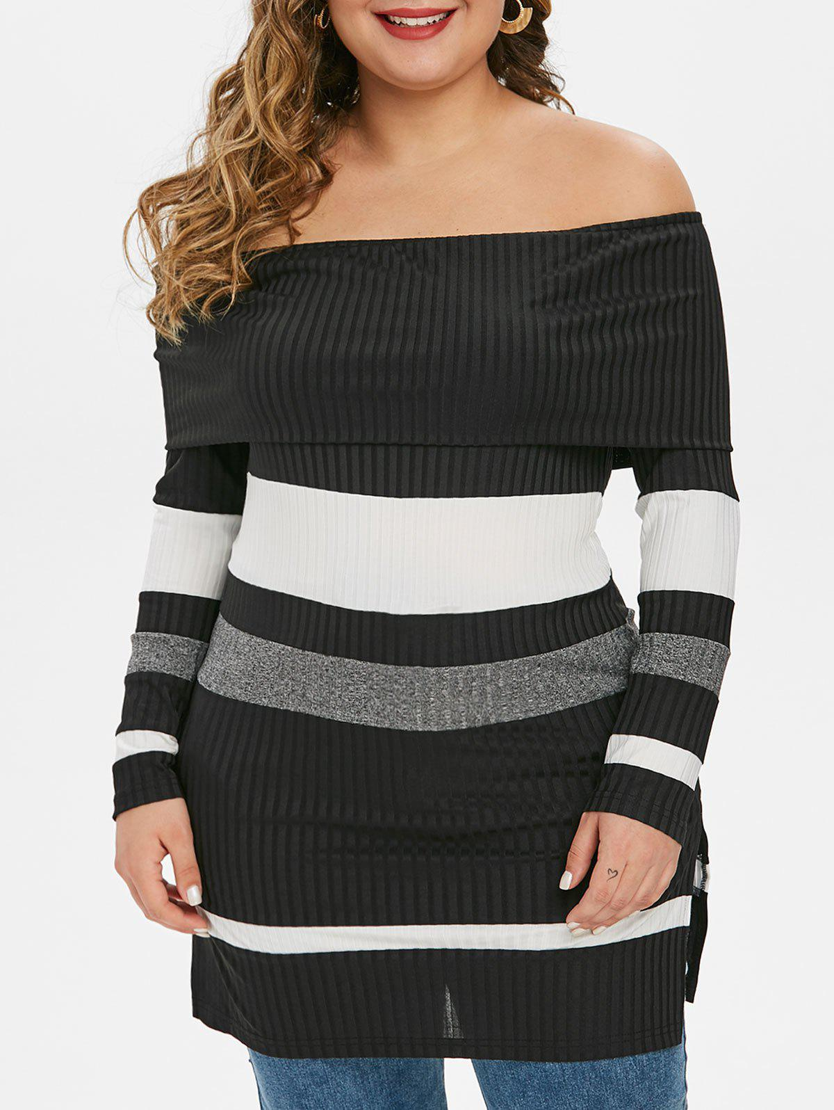 Store Plus Size Off The Shoulder Fold Over Striped Ribbed Knitwear
