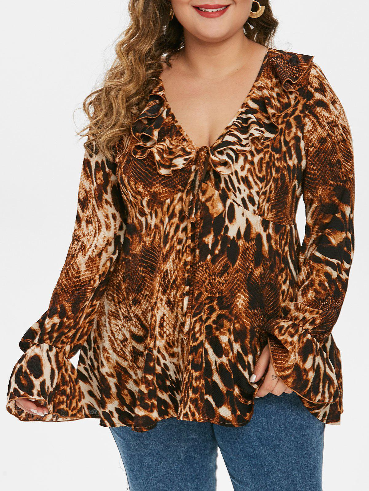 Fashion Plus Size Ruffle Leopard Print Blouse