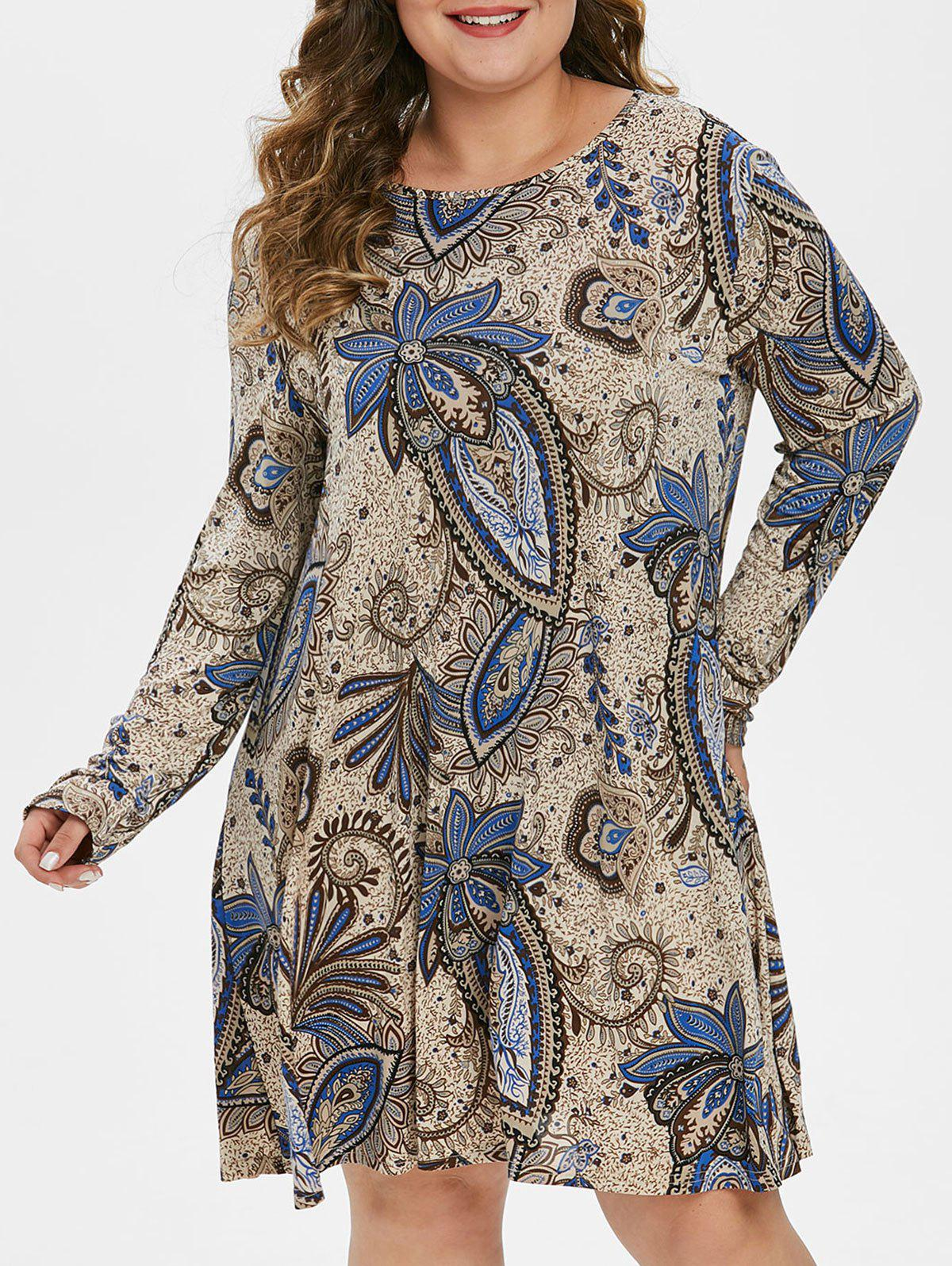 Fashion Plus Size Long Sleeve Paisley Print Swing Dress