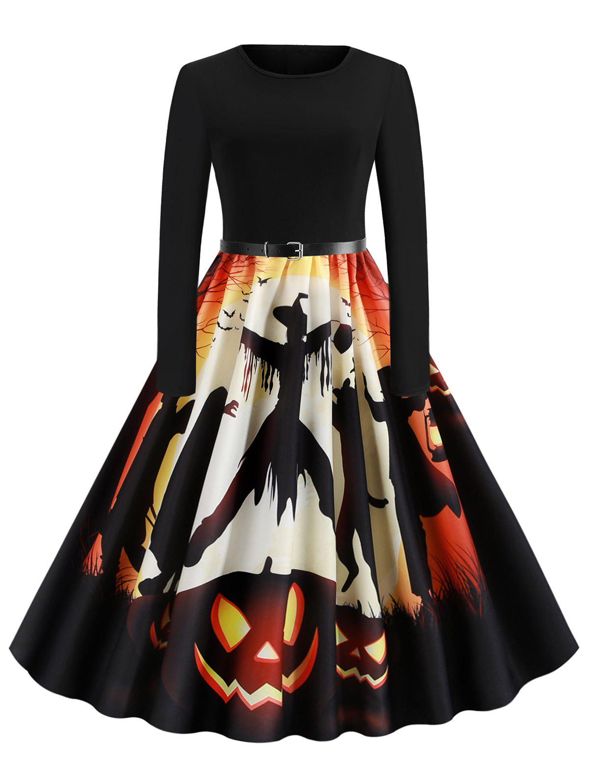 Unique Pumpkin Bat Ghost Belted Halloween Long Sleeves Dress