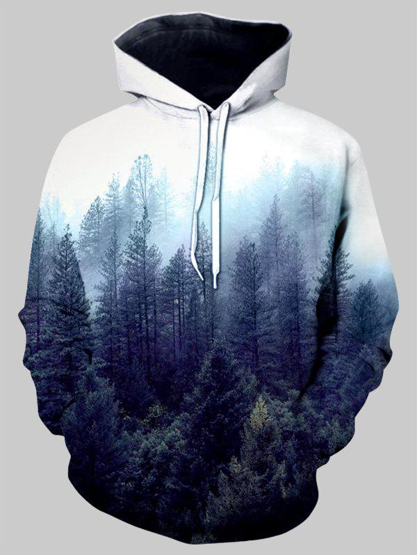 Fashion Misty Forest Front Pocket Drawstring Hoodie