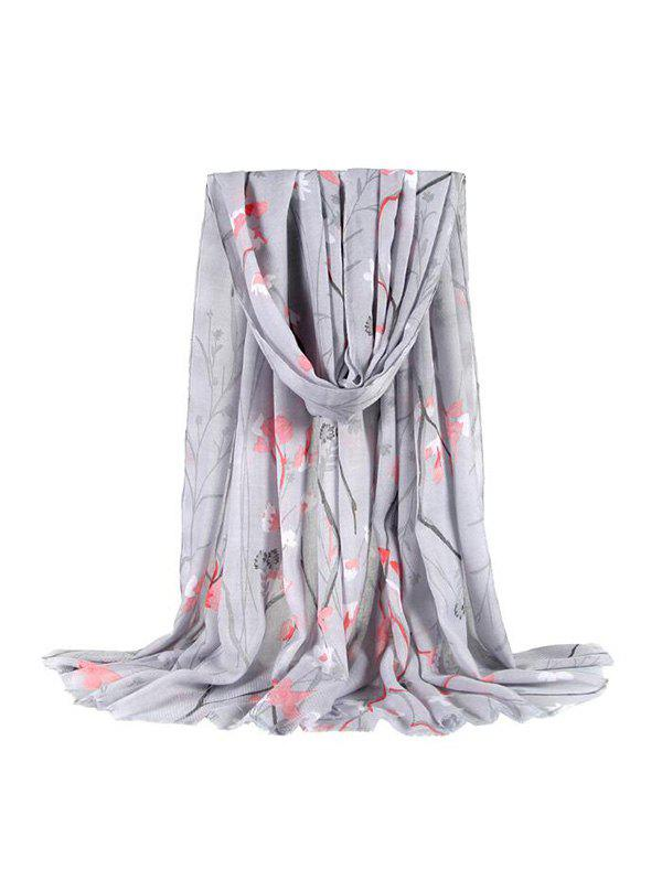 Discount Leaf Branches Floral Printing Fringe Long Scarf