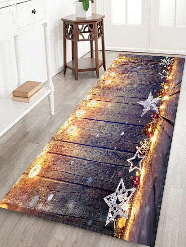 Trendy Christmas Star Wooden Print Floor Rug