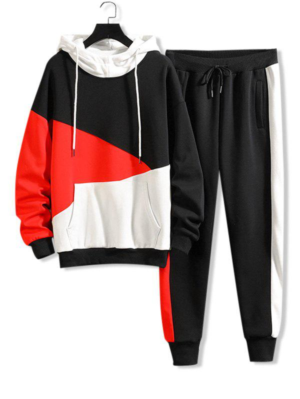 Store Color-blocking Letter Graphic Hoodie And Pants Set