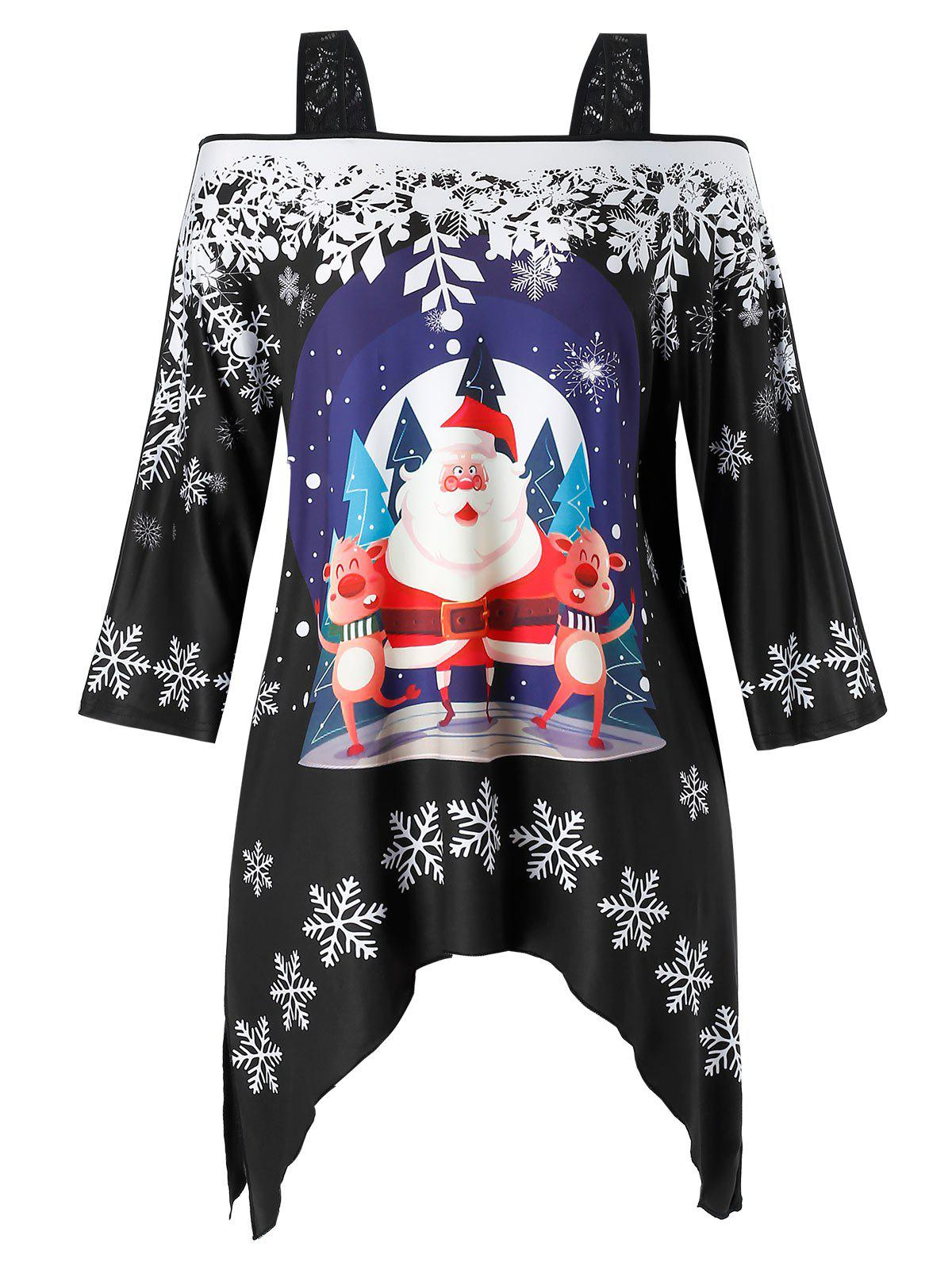 Outfit Plus Size Open Shoulder Christmas Square Collar Printed T Shirt