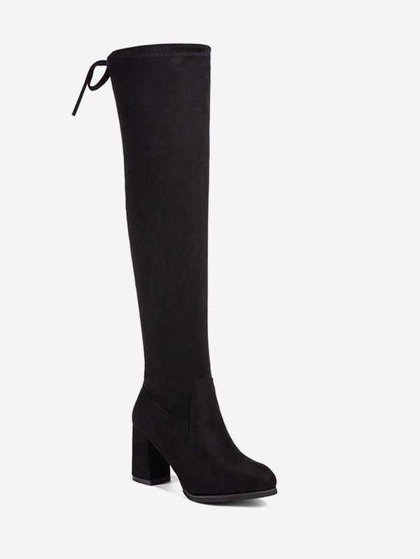 Trendy High Heel Tie Back Thigh High Boots