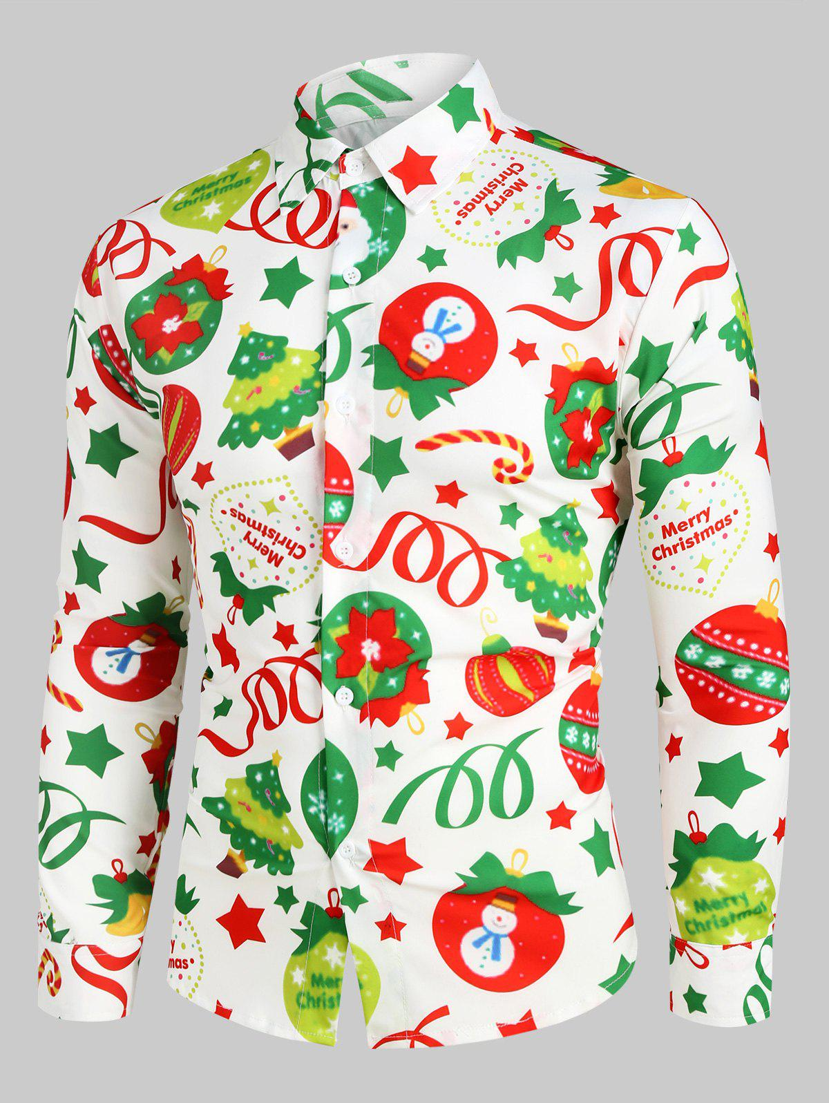 Unique Christmas Pattern Ball Star Candy Long Sleeve Button Shirt