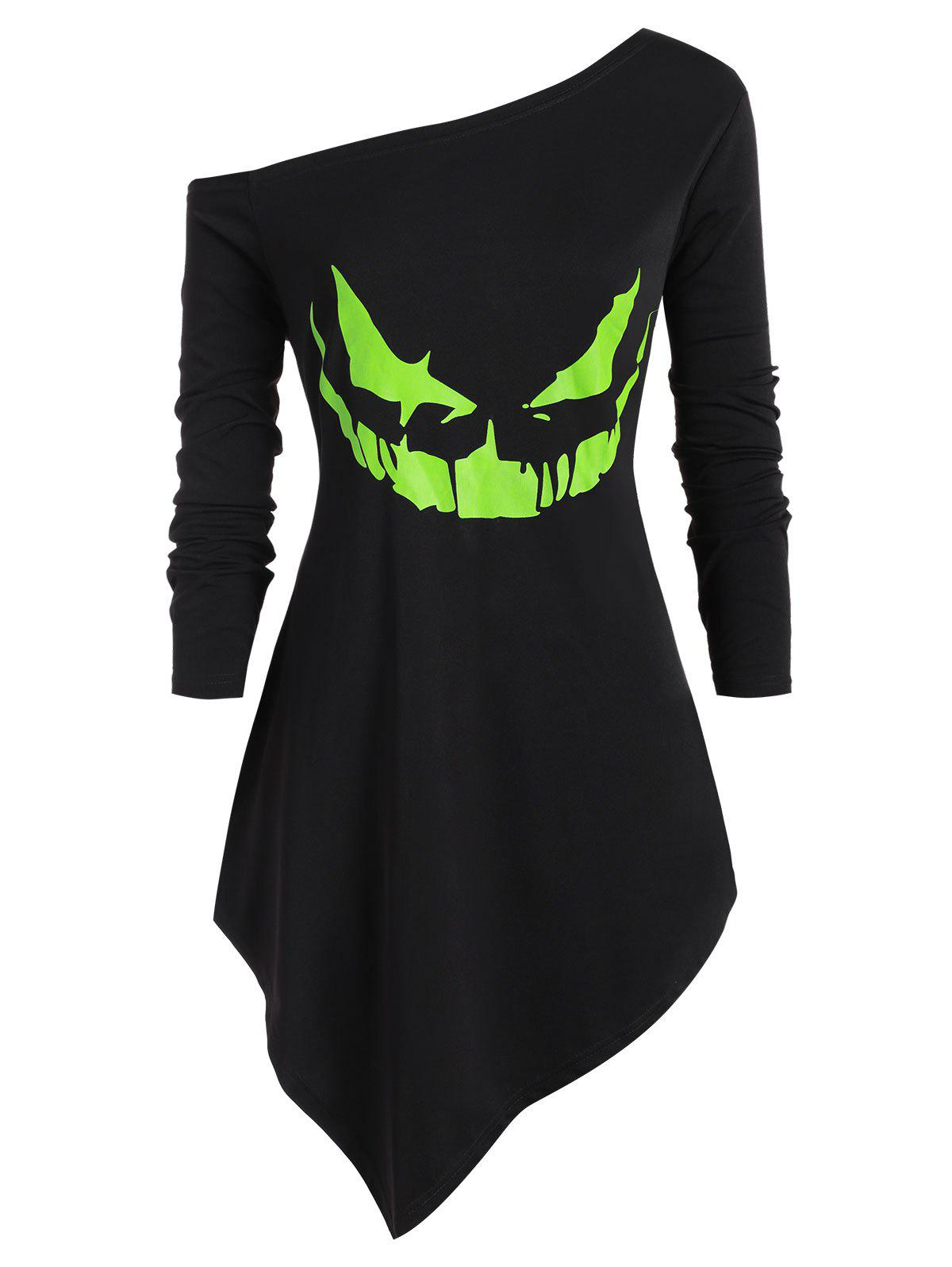 Shops Plus Size Halloween Skew Neck Neon Pumpkin Face Asymmetric Sweatshirt
