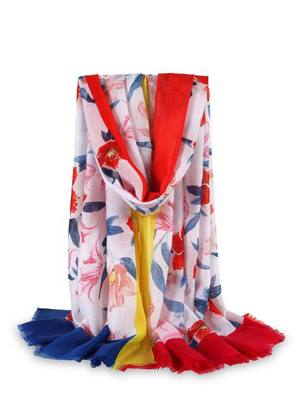 Fashion Flower Printed Color-blocking Fringe Beach Scarf