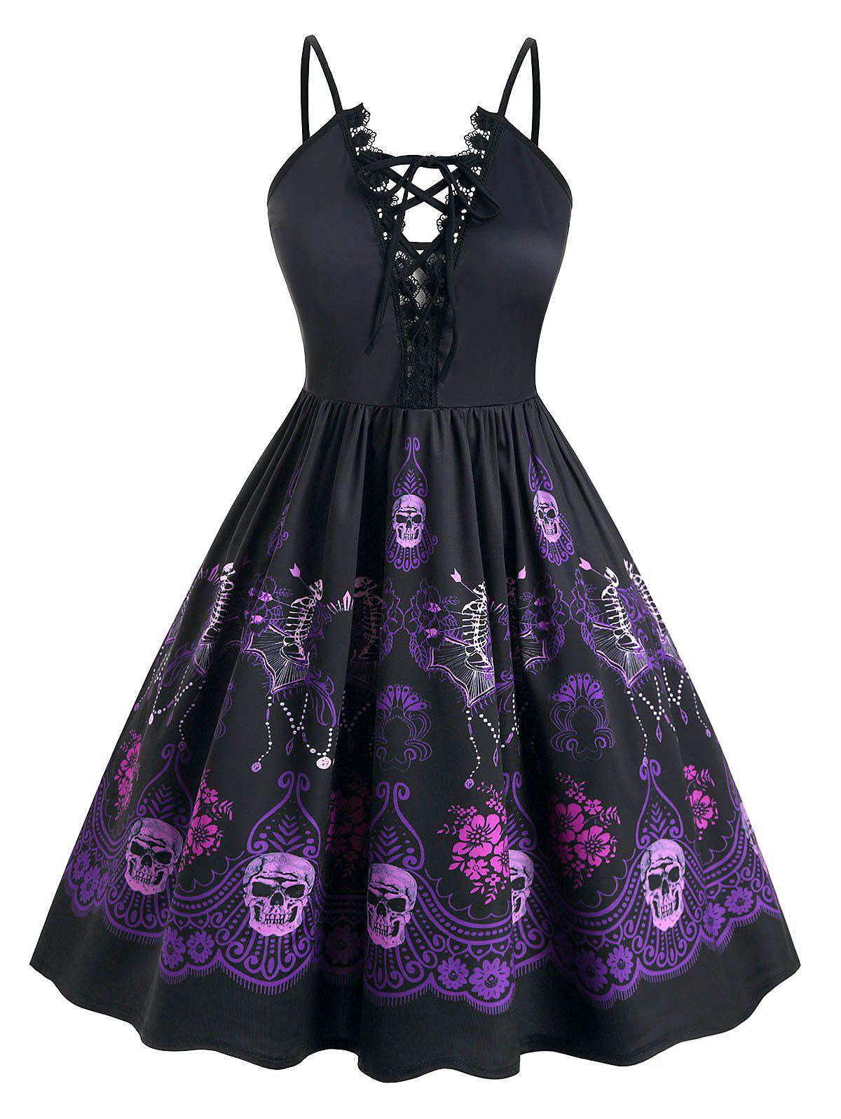 Fancy Plus Size Halloween Lace Up Skeleton Floral Vintage Party Dress