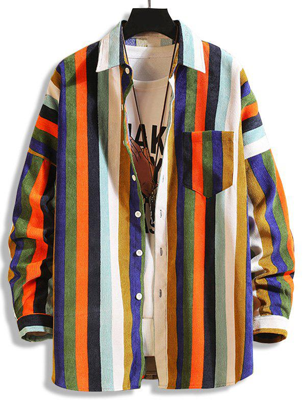 Cheap Colorful Striped Pockets Button Up Corduroy Shirt