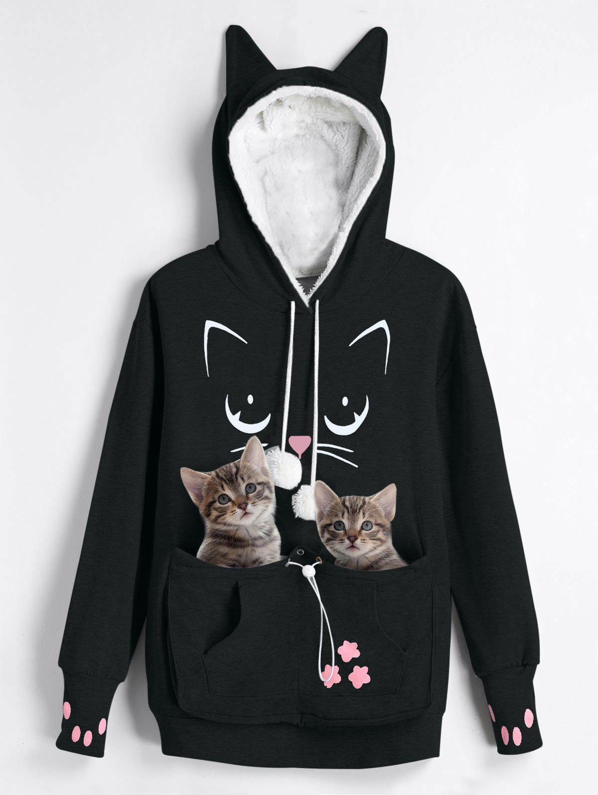 Outfits Plus Size Faux Fur Front Pocket Cat Print Graphic Hoodie