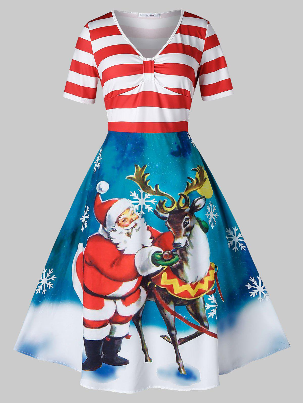 Store Plus Size Christmas Vintage Santa Claus Elk Print Party Dress
