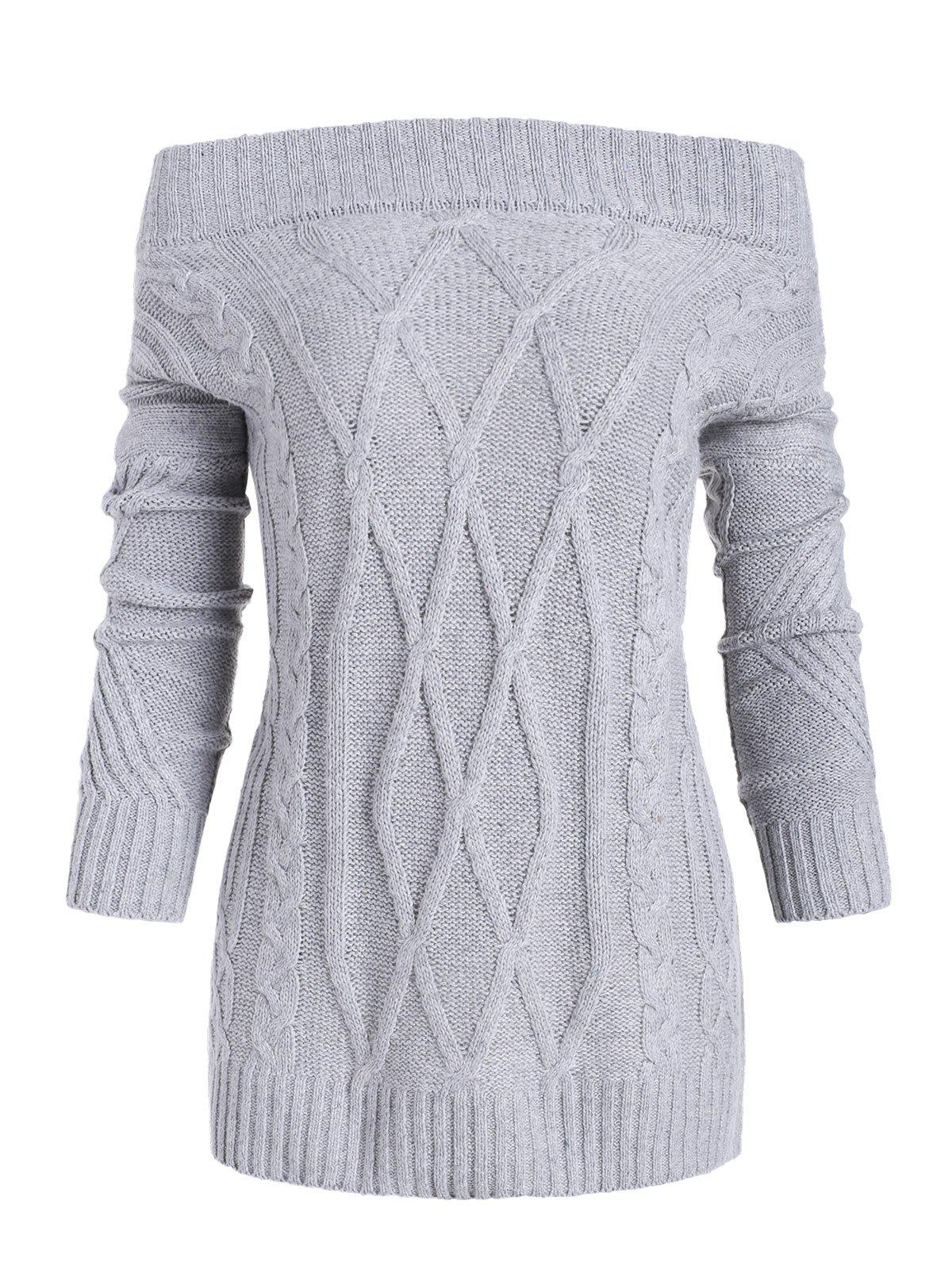 Latest Off Shoulder Cable Knit Loose Sweater