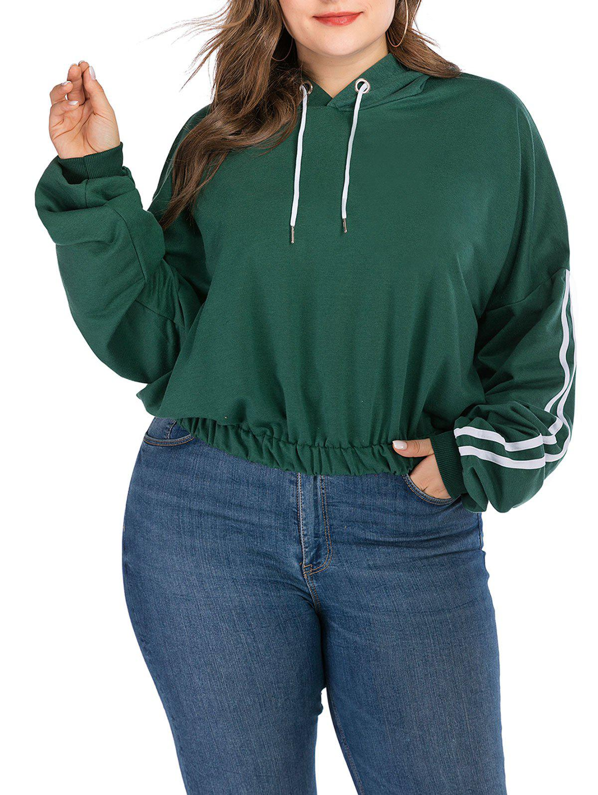 Trendy Plus Size Striped Drop Shoulder Hoodie