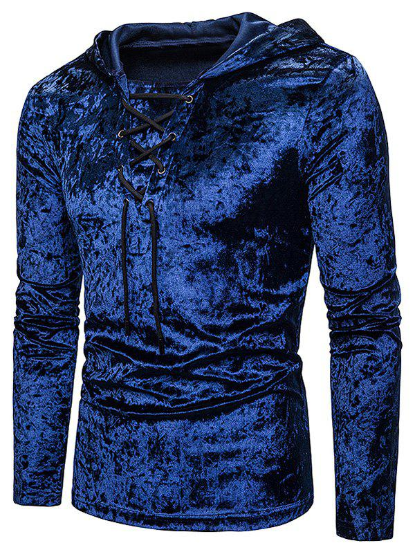 Outfit Lace Up Solid Velour Hooded T-shirt