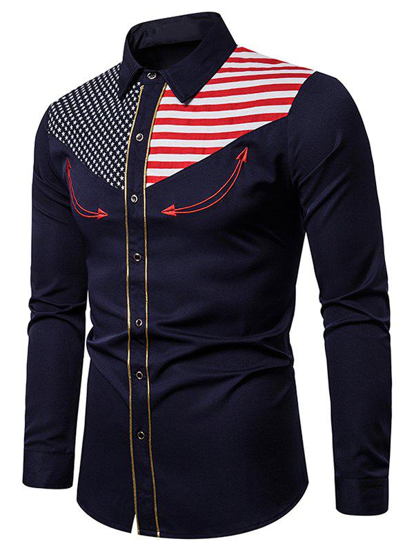 Best American Flag Star and Stripes Embroidery Contrast Trim Shirt