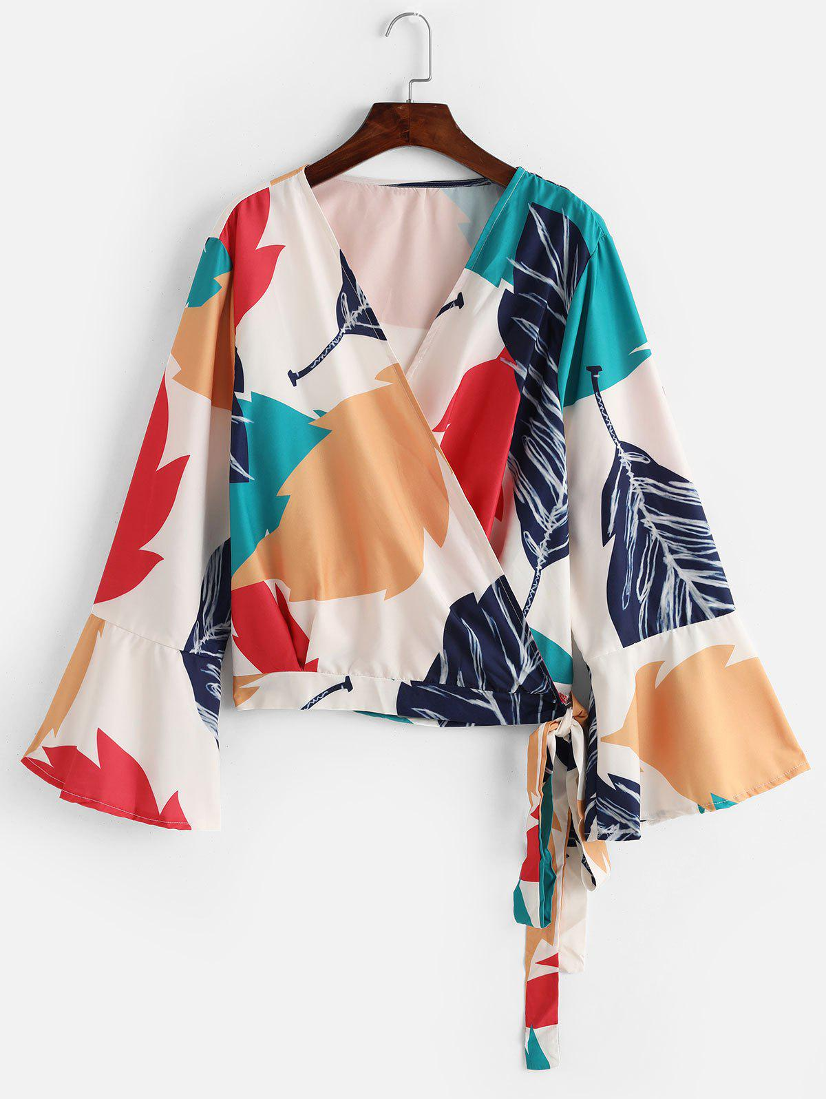 Chic Plus Size Palm Print Flare Sleeve Wrap Top
