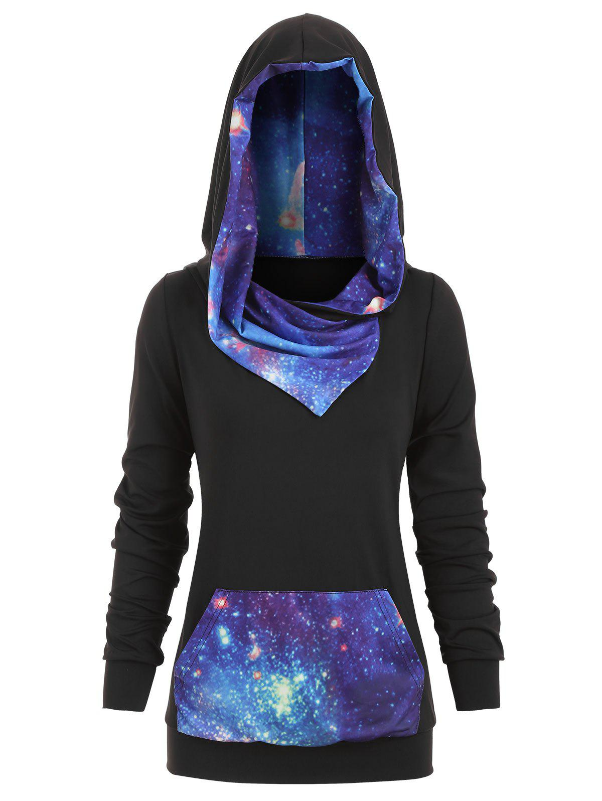 Fancy Plus Size 3D Galaxy Print Pullover Hoodie