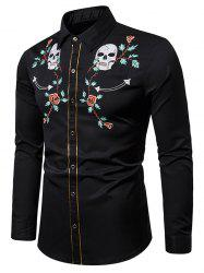 Skull Flower Embroidery Contrast Trim Button Shirt -