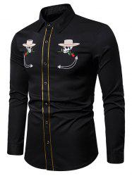 Skull Flower with Cap Embroidery Long Sleeve Shirt -