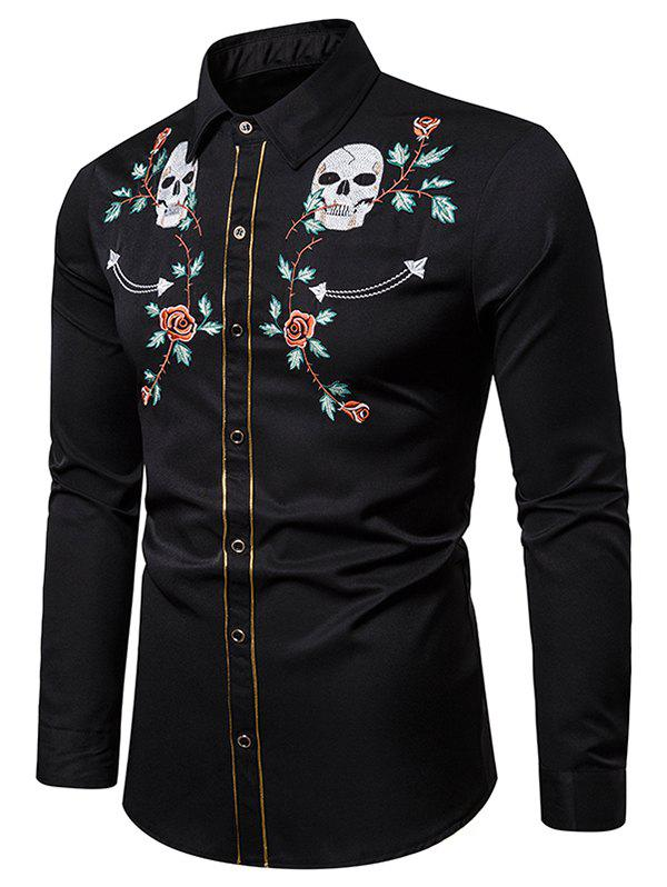 Outfits Skull Flower Embroidery Contrast Trim Button Shirt