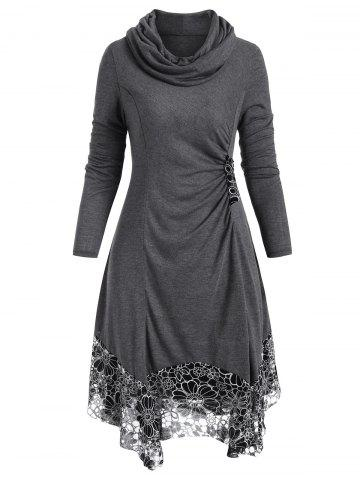 Cowl Neck Button Embellished Flower Dress