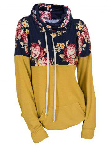 Plus Size Drawstring Cowl Neck Floral Hoodie