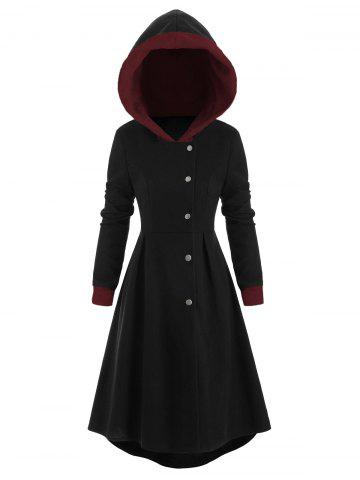 Snap Button Fur Trim Hooded High Low Coat - BLACK - 2XL