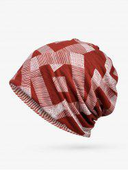 Checkered Striped Print Elastic Double Use Scarf Hat -