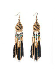 Feather Beaded Long Tassel Earrings -