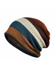 Striped Print KnittedDouble Use Scarf Hat -