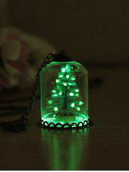 Christmas Tree Glass Cover Luminous Chain Pendant Necklace -