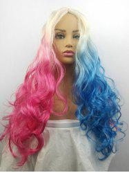 Double Color Cosplay Center Part Synthetic Ombre Long Body Wave Cosplay Wig -