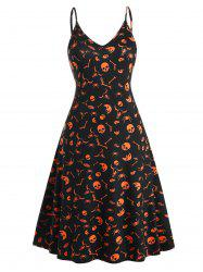 Plus Size Halloween Print Midi Cami Dress -
