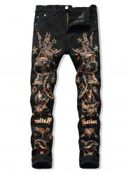Metallic Pirate Print Zipper Fly Straight Pants -