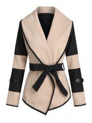 Colorblock Buckle Woollen Coat -