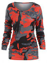 Camo Drop Shoulder Loose Sweatshirt -