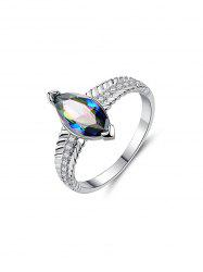 Metal Eye Shape Zircon Ring -