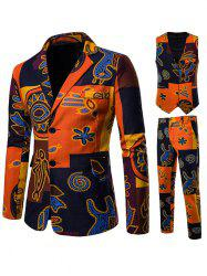 3 Piece Ethnic Abstract Print Linen Single Breasted Blazer Set -