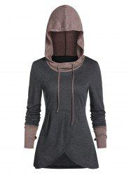 Hooded Contrast Heathered Glove Sleeve Drawstring Overlap T-shirt -