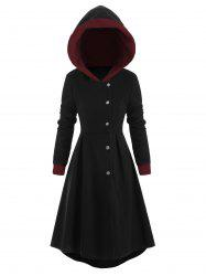 Snap Button Fur Trim Hooded High Low Coat -