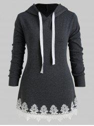 Drawstring Longline Lace Panel Plus Size Hoodie -