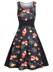 Vintage Snowflake Santa Claus Print Christmas Dress -