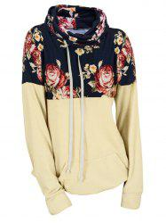 Plus Size Drawstring Cowl Neck Floral Hoodie -