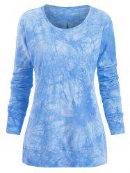 Plus Size Side Slit Tie Dye Topstitching Tee -